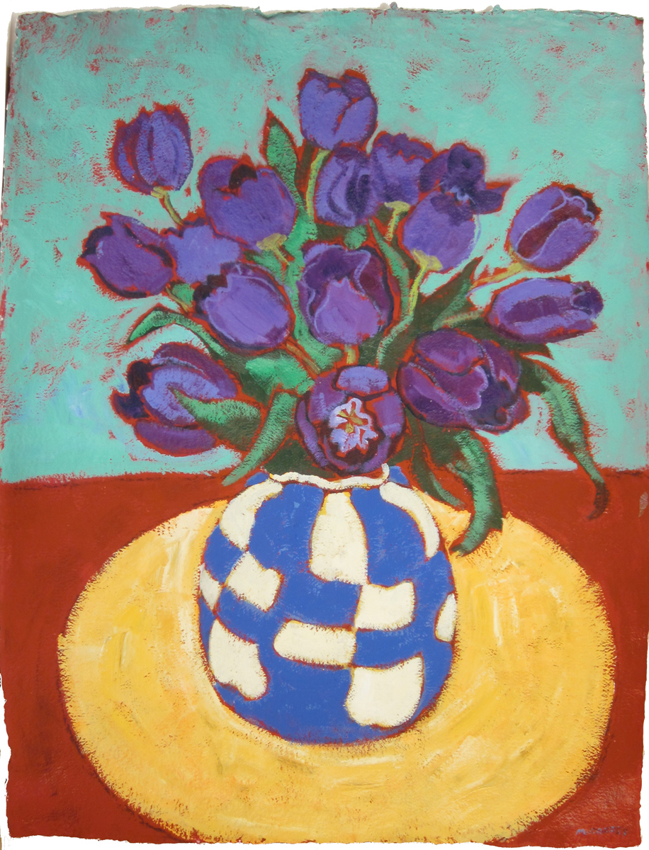 """STILL LIFE WITH CHECKERED BLUE VASE, ed. 3/50, Giclee Print, 47 x 35 1/2"""""""