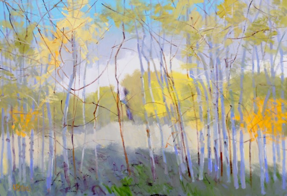"Rodger Bechtold, ""New Growth Trees,"" oil on linen, 36 x 52 inches"