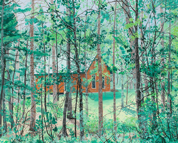 Scout Lake Cabin , 2011, oil on canvas, 26 x 32 inches