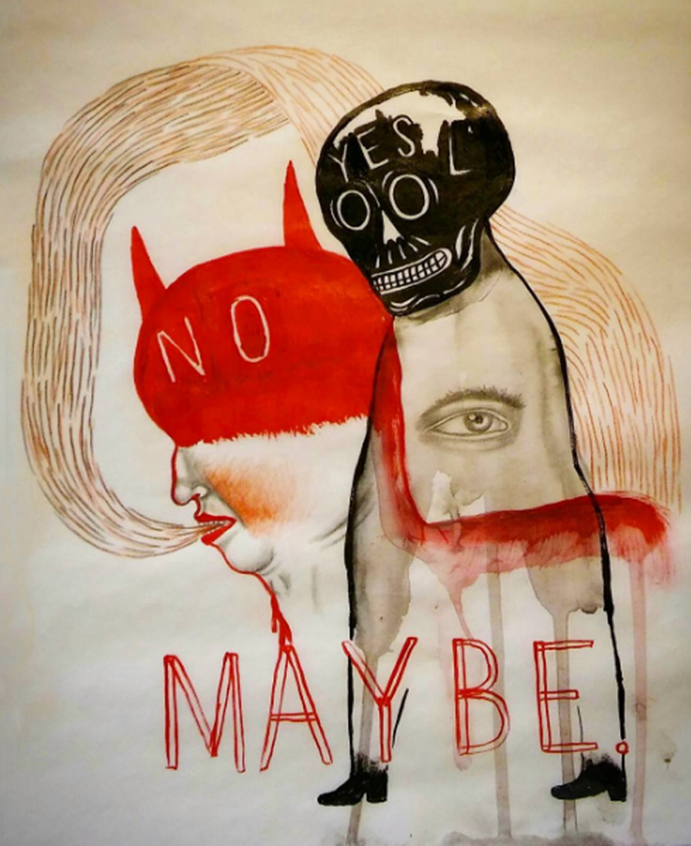 "YES. NO. MAYBE., Mixed Media on Vellum, 14 x 11"" framed 15 x 12"""