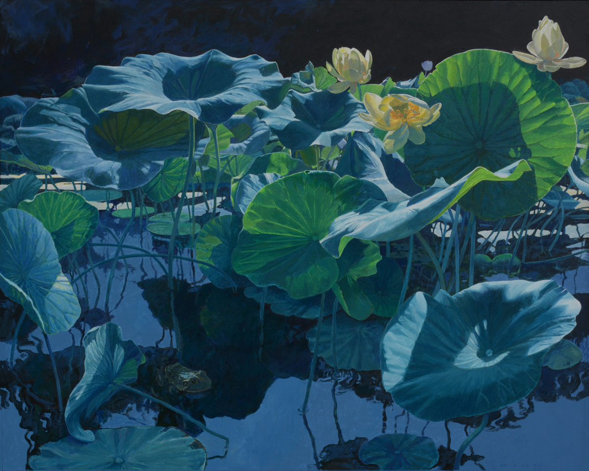 LOTUS LILIES NO. 29, Acrylic on Panel, 24 x 30""