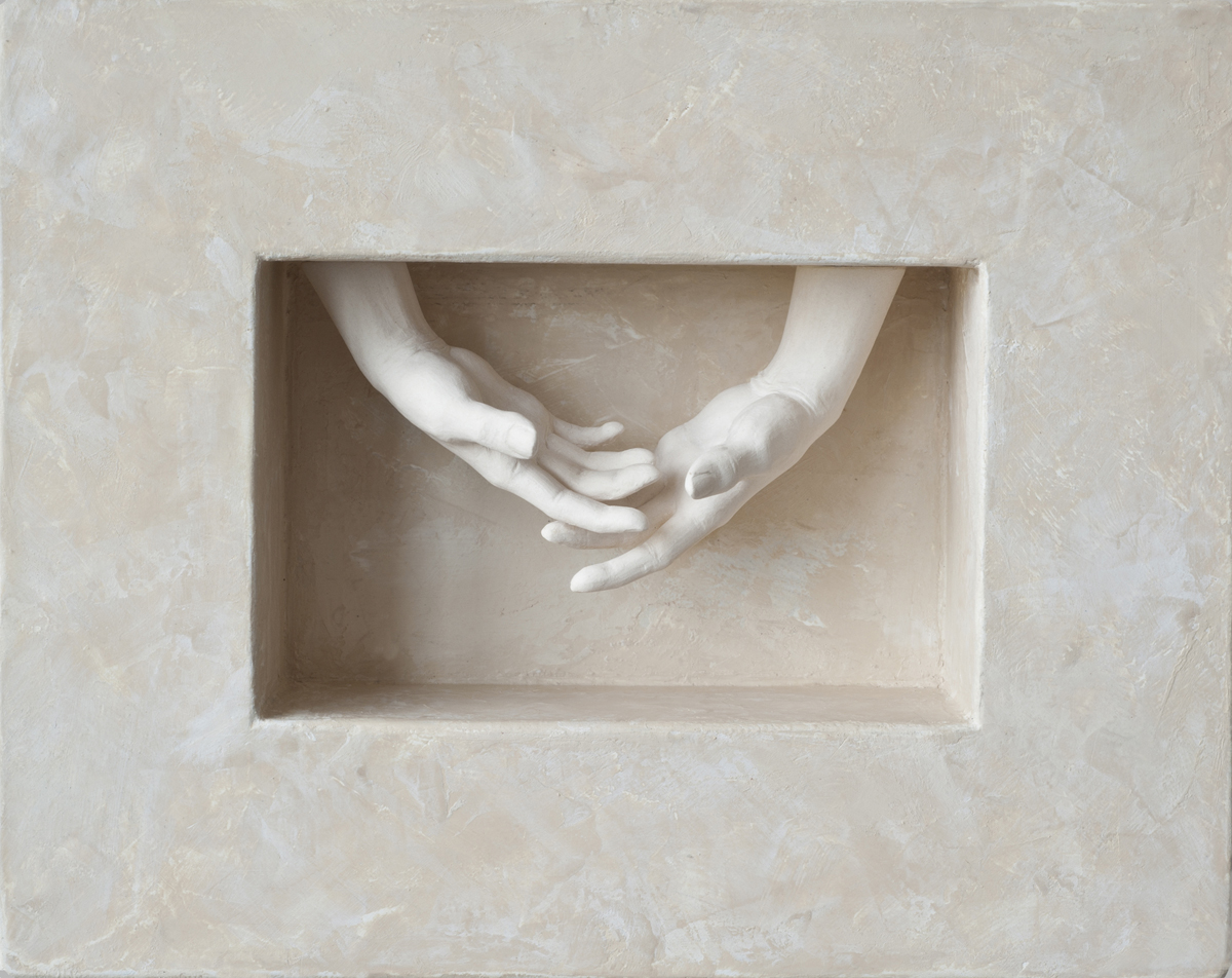 """COMING TOGETHER, Porcelain, Wood, Plaster and Paint, 7 1/2 x 7 1/2 x 2"""""""