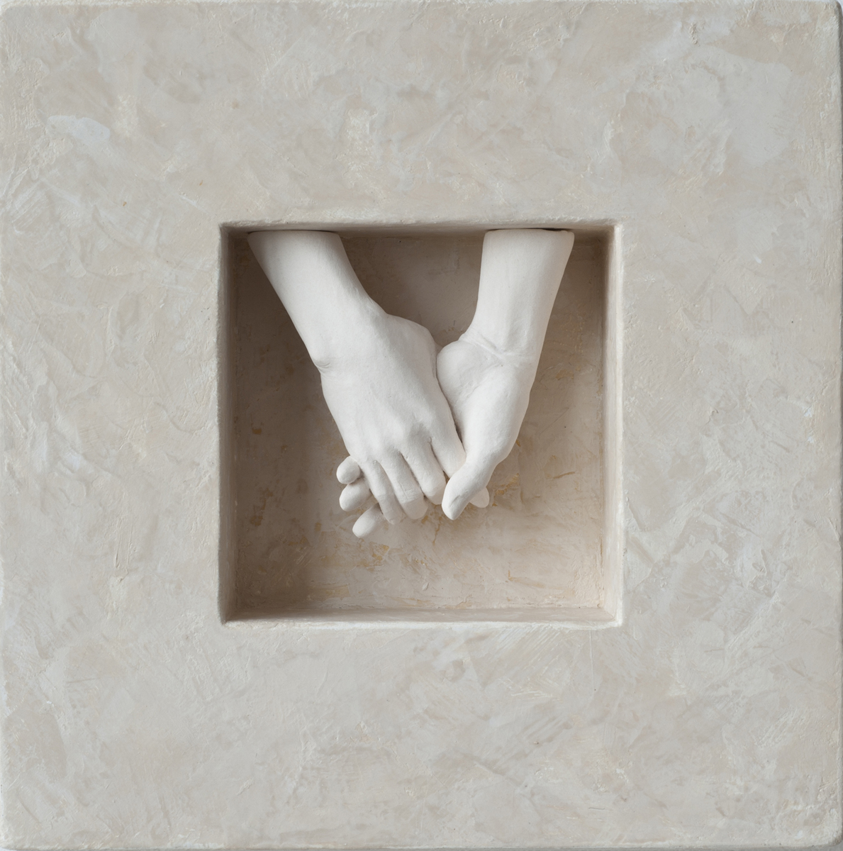 """HOLDING HANDS, Porcelain, Wood, Plaster and Paint, 7 1/2 x 7 1/2 x 2"""""""