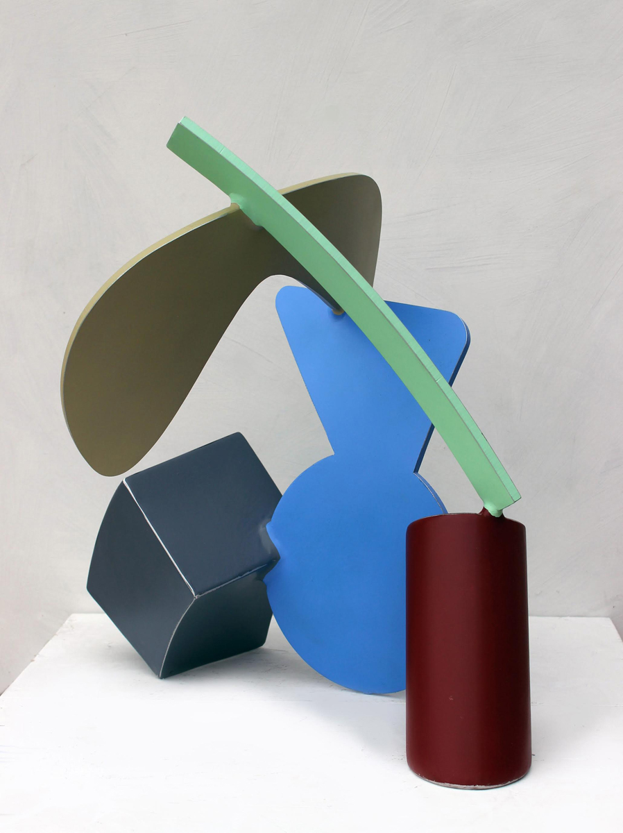 "TRIPOD 5, Aluminum, Enamel Paint, and Varnish, 21 x 16 x 20"""