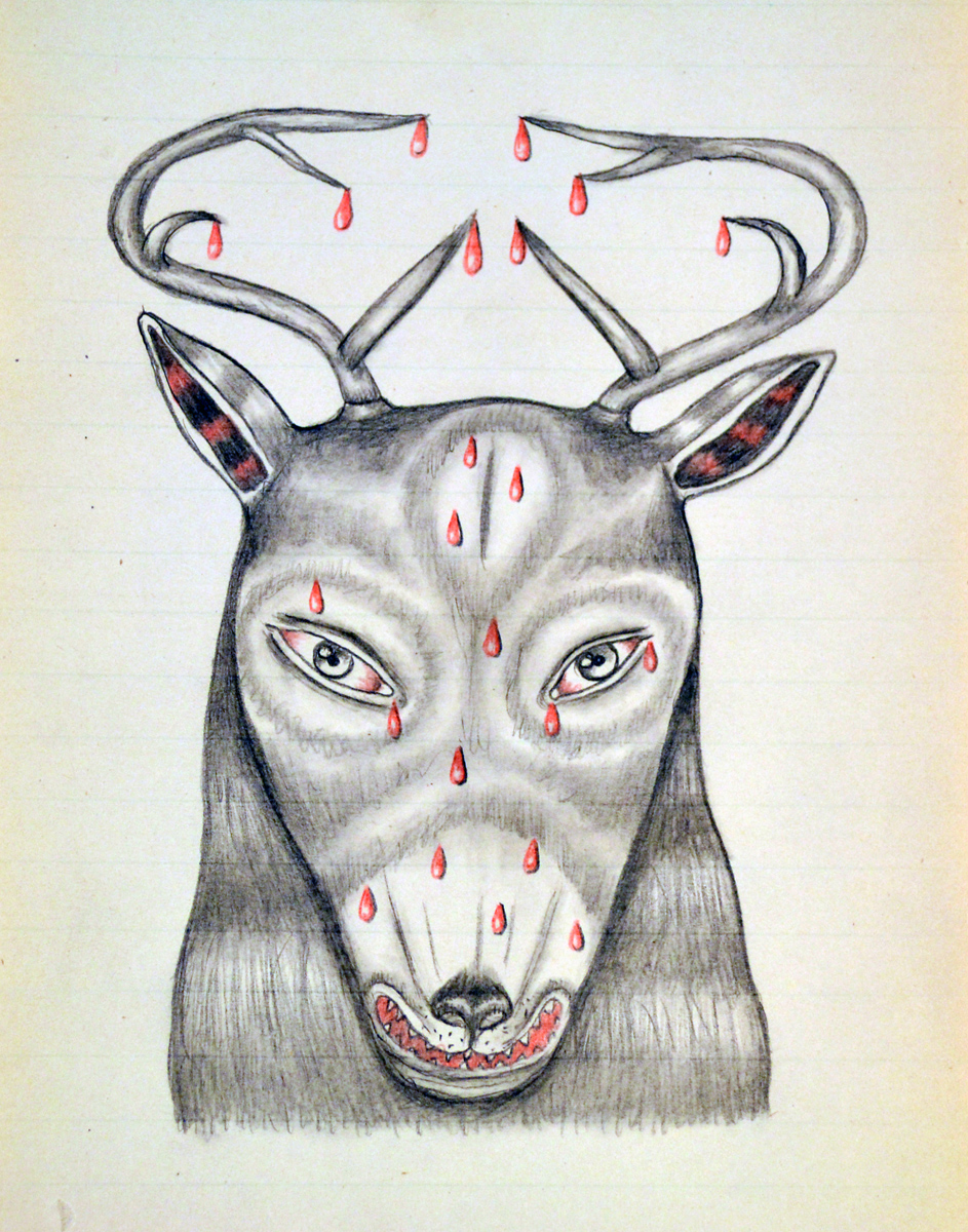 "BLOOD BUCK, Graphite and Colored Pencil on Paper, 7 x 5"" framed 15 x 12"""