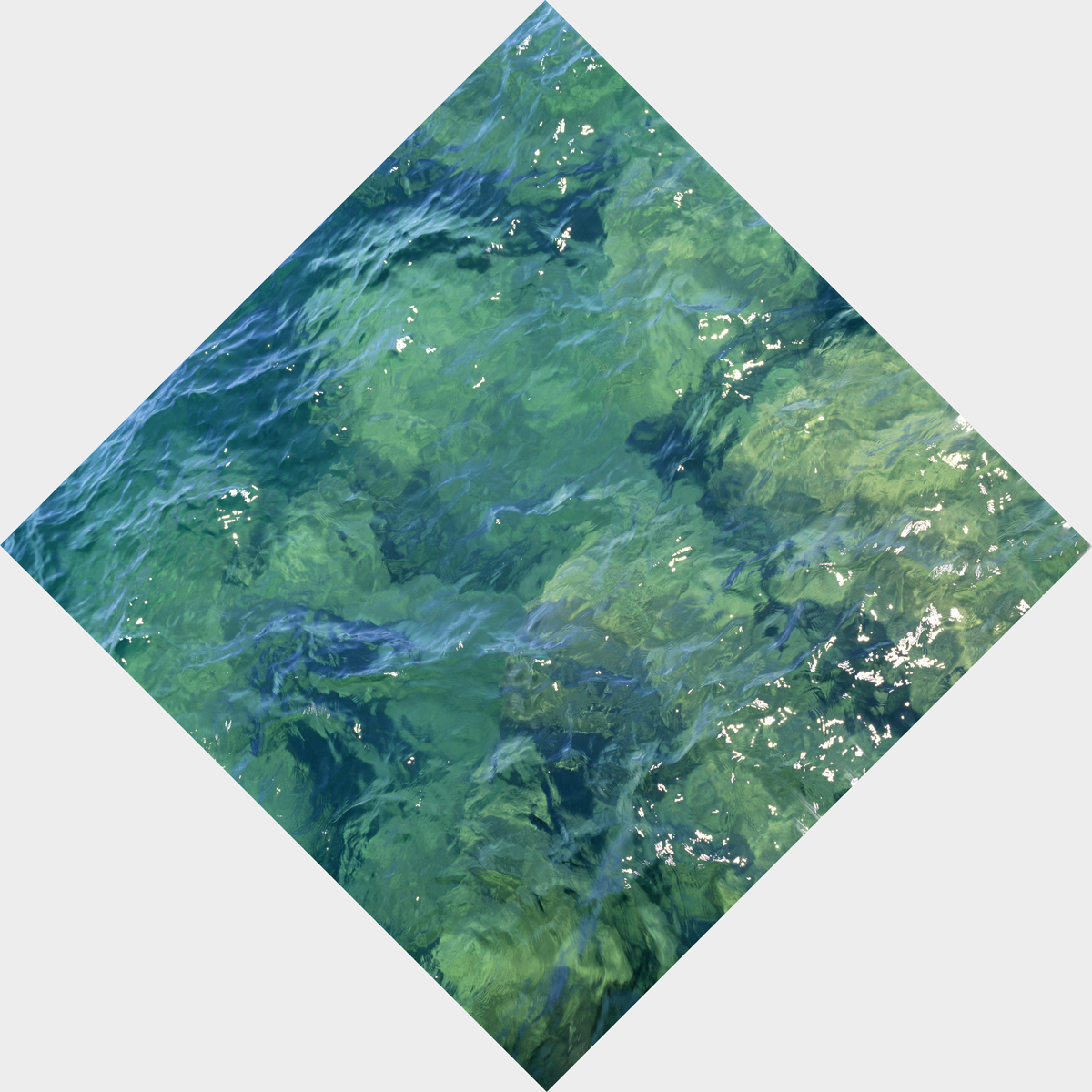 """ON THE TRAIL OF THE LIVING: GREEN WATERS, SUPERIOR, Color Photograph Printed on Archival Paper, 30 x 30"""" framed 34 x 34"""""""