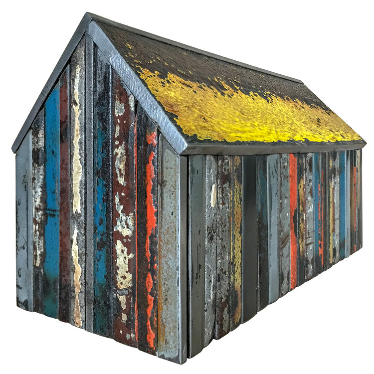 """STRUCTURE NO. 161, Found Painted Steel, 5 1/4 x 9 1/4 x 5 1/4"""" - $750"""