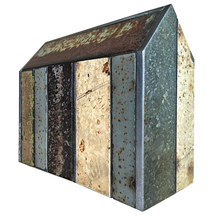 """STRUCTURE NO. 155, Found Painted Steel, 6 1/4 x 7 3/4 x 3 1/8"""" - $675"""
