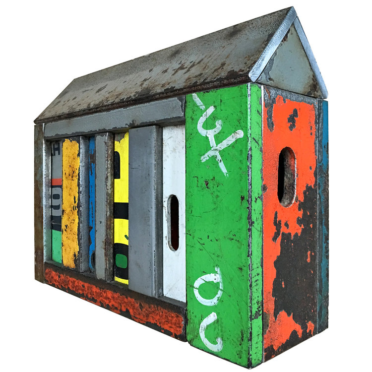 """STRUCTURE NO. 156, Found Painted Steel, 6 x 8 x 2 1/2"""" - $685"""