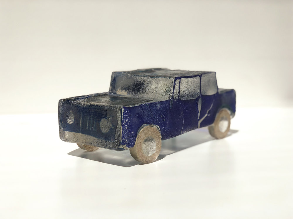 """BLUE, Fused, Sand Casted, Assembled Glass, 3 1/2 x 9 x 4"""" - $750"""
