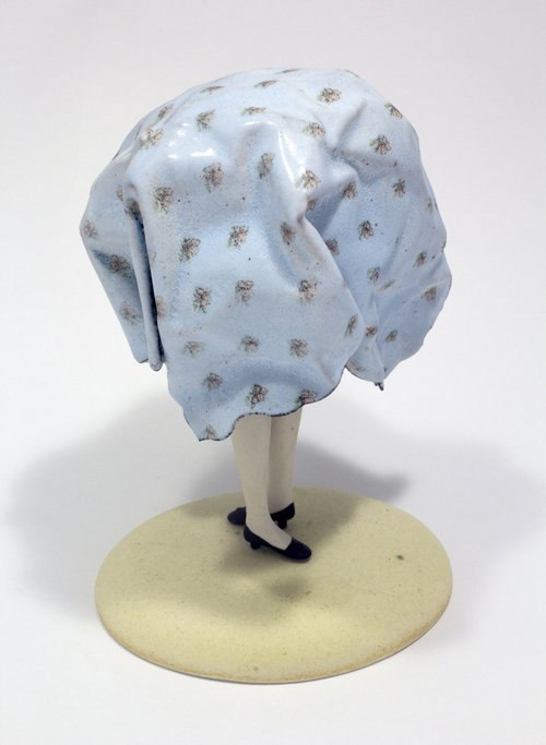 """TWISTED BEDSHEET, Enamel, Copper, China, Porcelain, Milk Paint, Steel, and Silver, 5 3/4 x 4 x 4"""" - $1,200"""