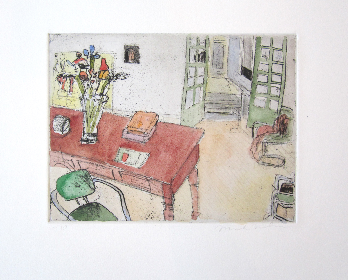 """UNTITLED (DESK WITH FLOWERS), Hand-Colored Etching, 6 x 8"""" image size - $450"""