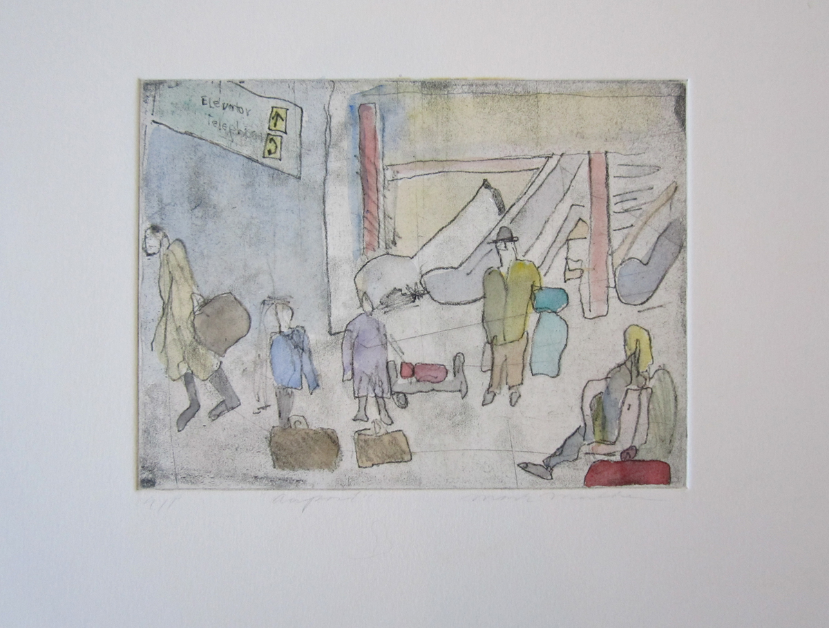 """UNTITLED (AIRPORT SCENE II), Hand-Colored Etching, 6 x 7 3/4"""" image size 15 x 18"""" paper size - $450"""