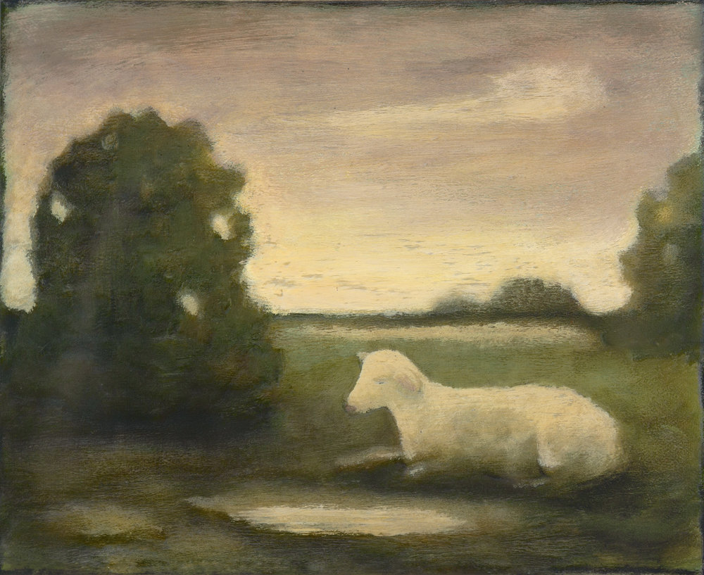"""A SHEEP AT TWILIGHT, Acrylic on Paper Mounted on Board, 8 x 10"""""""