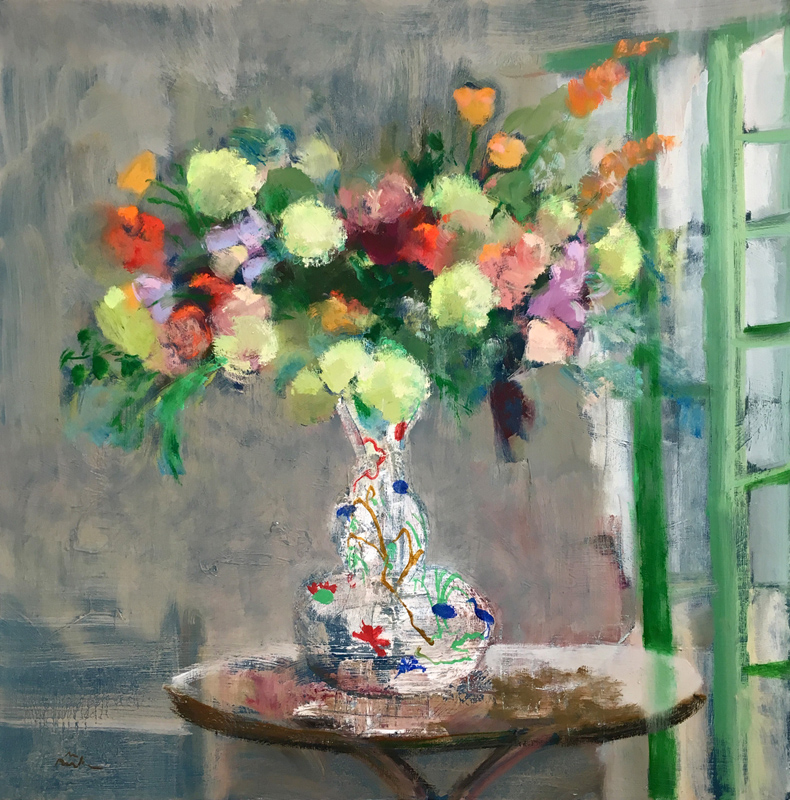 GREEN DOOR BOUQUET, Oil on Canvas, 36 x 36""