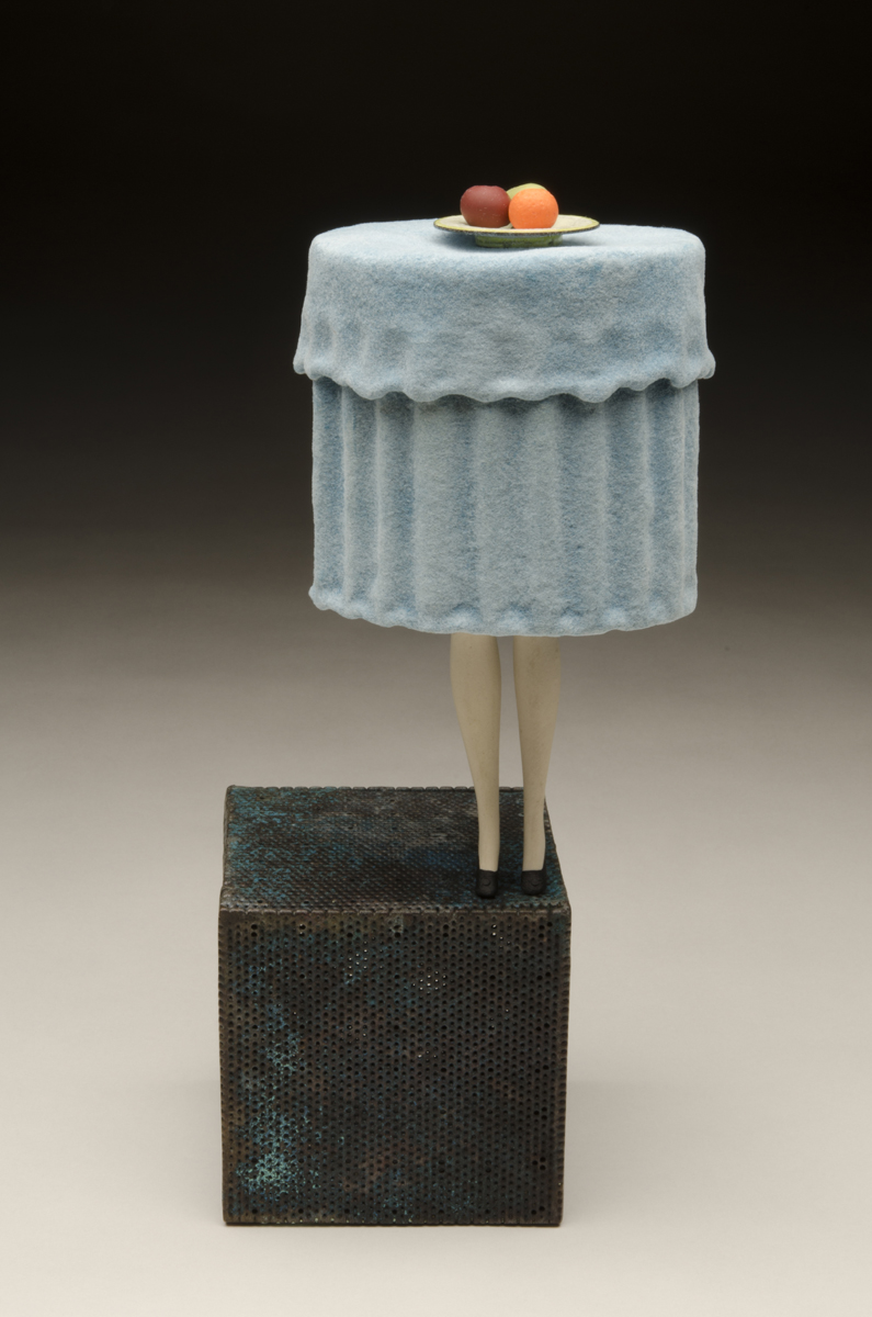 """BALANCE, Copper, Rayon Flocking, Porcelain, Enamel, Polymer Clay, Milk Paint, and Sterling Silver, 12 x 4 x 4"""" -  SOLD"""