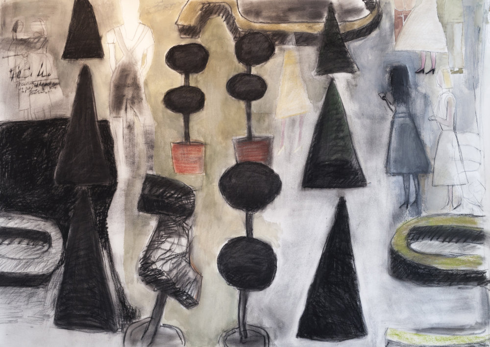 "TOPIARY, Charcoal and Pastel on Paper, 42 x 60"" framed 48 1/2 x 66 1/4"""