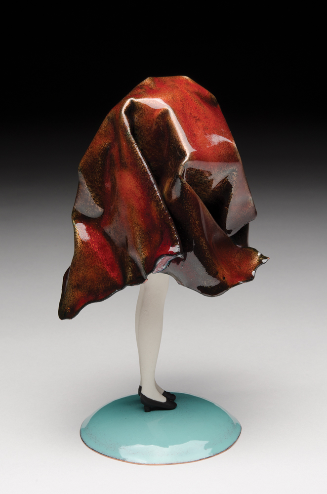 Red Drape, 2018, enamel, copper, vitreous china, stainless steel, sterling silver, milk paint, 8 x 4 x 4 in.