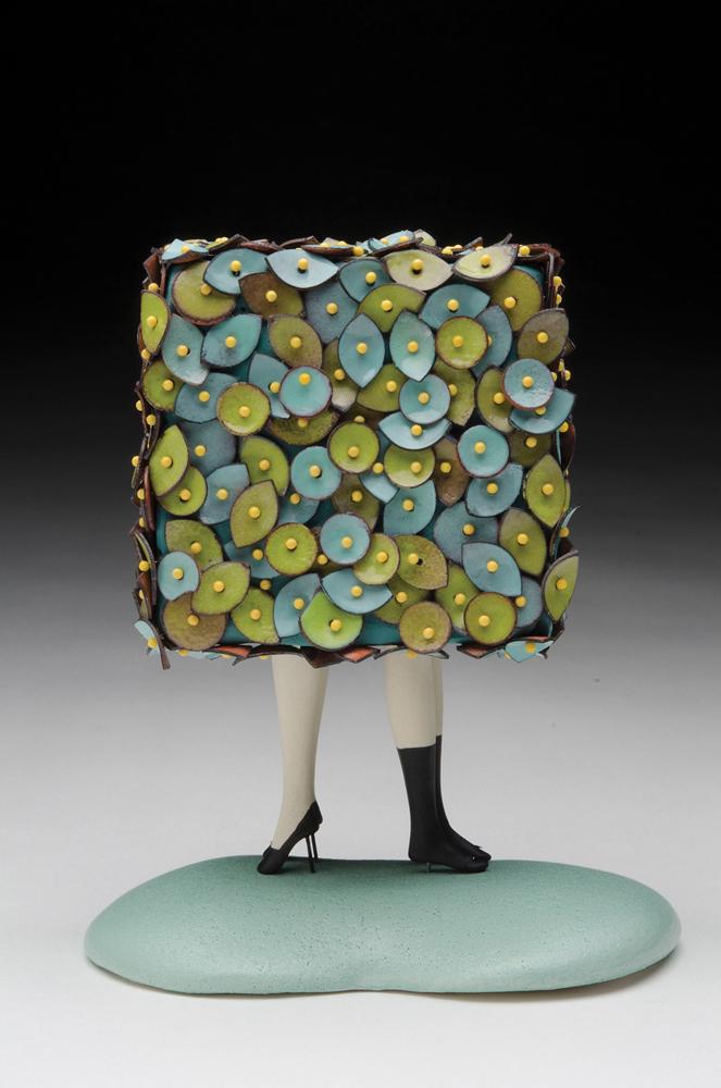 Square, 2017, enamel, copper, porcelain, sterling silver, head pins, milk paint, 8 x 6 x 4 in.