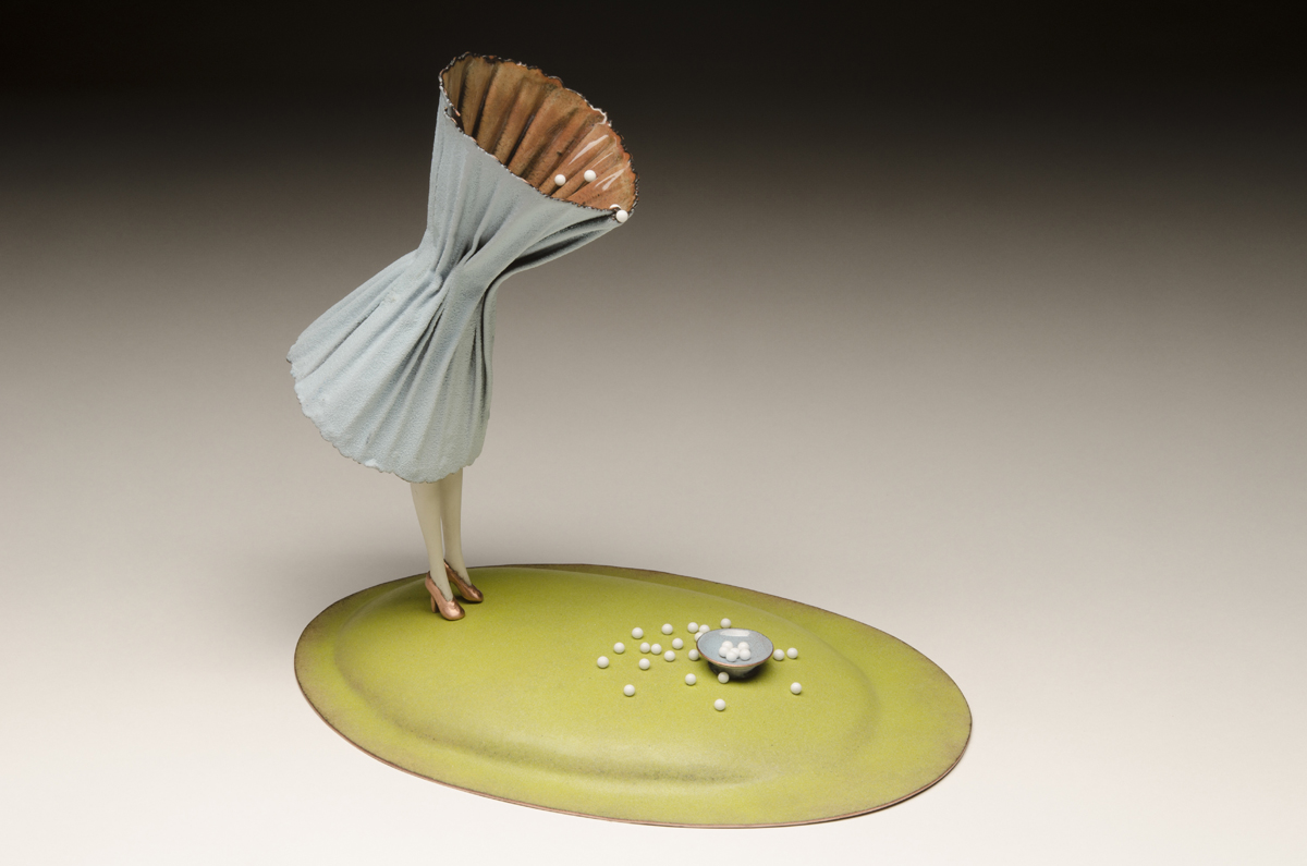 """MY CUP RUNNETH OVER, Copper, Enamel, Porcelain, Milk Paint, and Glass Pins, 10 x 11 x 7"""""""