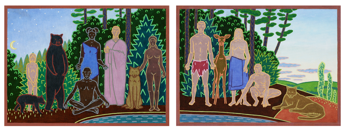 FAMILY VIGIL I, Oil on Canvas, diptych, 16 x 44""