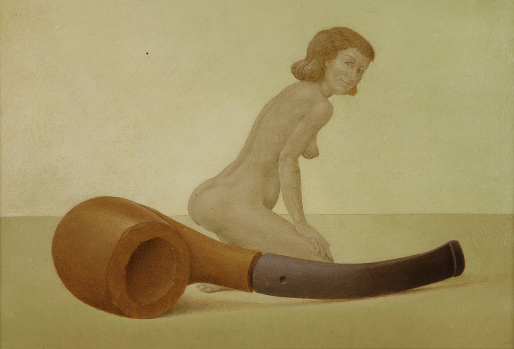 NAKED GIRL WITH A PIPE, 2000, Oil on Board, 8 x 11 3/4""