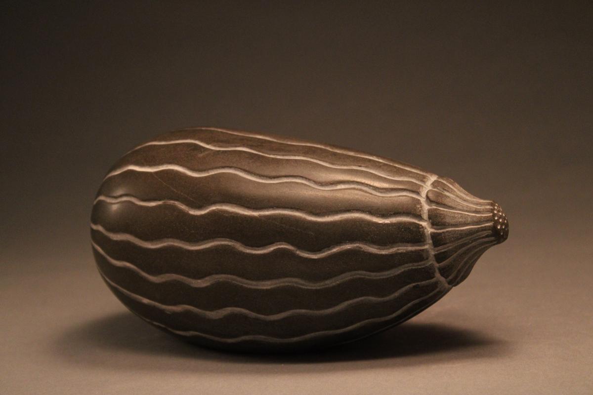 "ELECTRIC SQUASH, Carved Basalt, 4 x 8 x 4"""