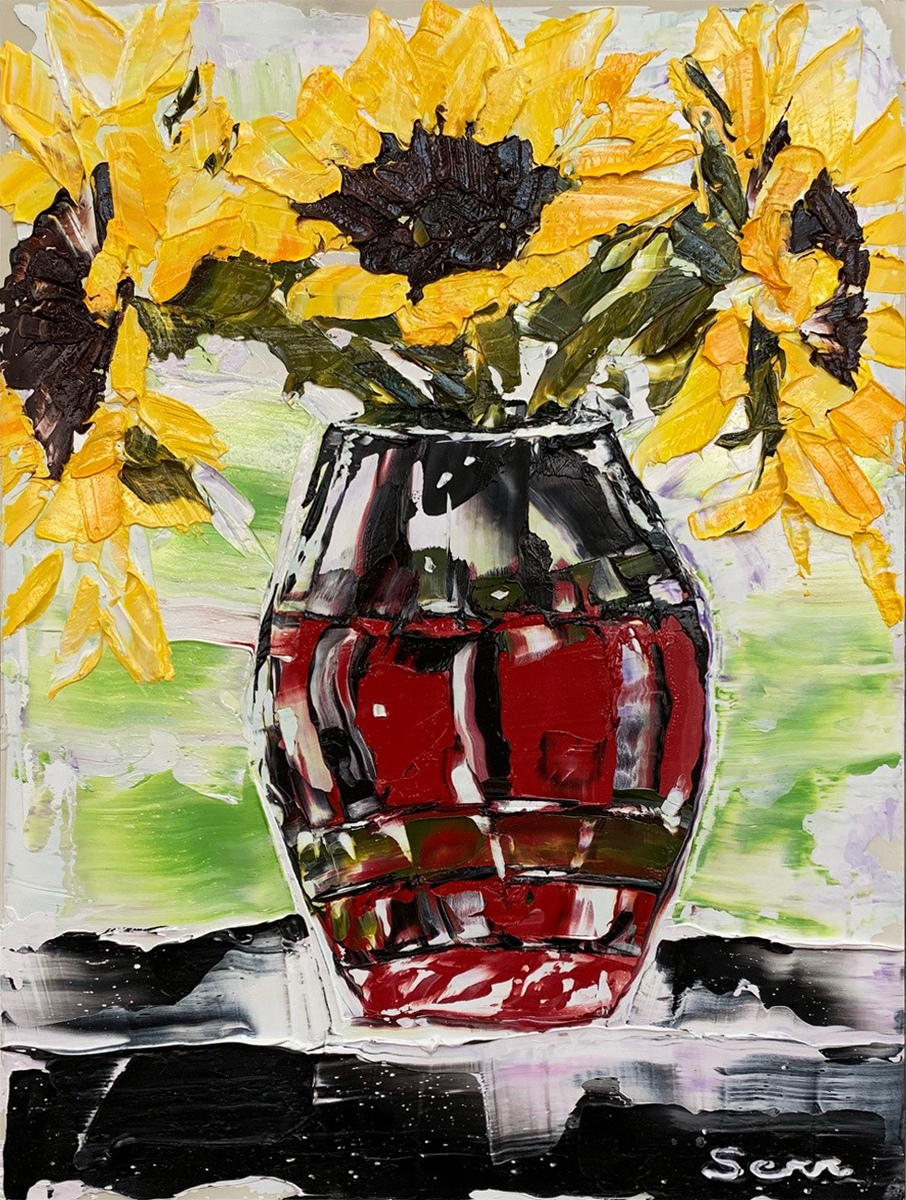 "RED VASE WITH SUNFLOWERS, Oil on Board, 12 x 9"" framed 14 1/4 x 11 1/4"""