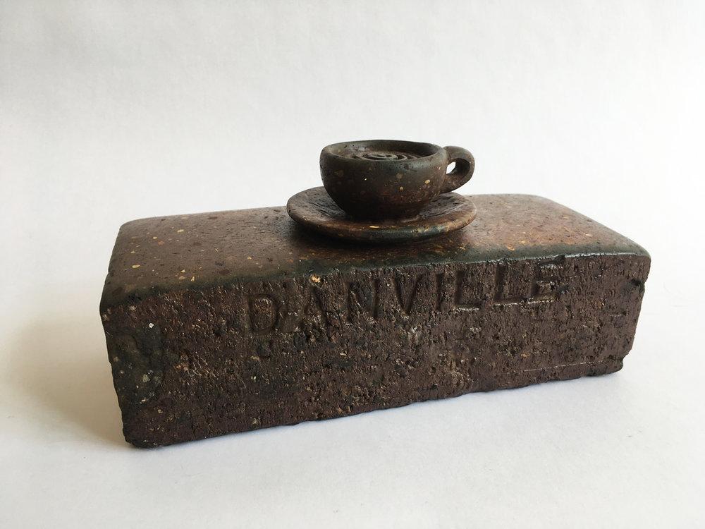 "CUP OF COFFEE, Carved Vintage Brick, 4 1/4 x 8 3/4 x 3 3/4"""