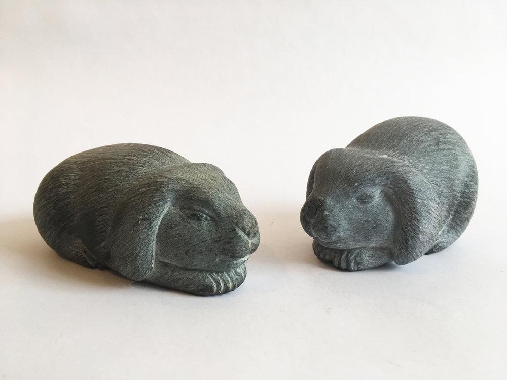 LOP EAR RABBITS, Carved Basalt