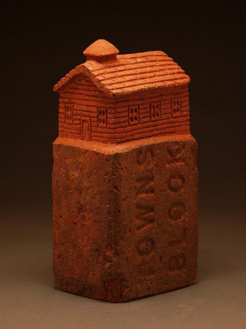"SCHOOLHOUSE, Carved Vintage Brick, 8 1/4 x 4 x 3 1/8"""