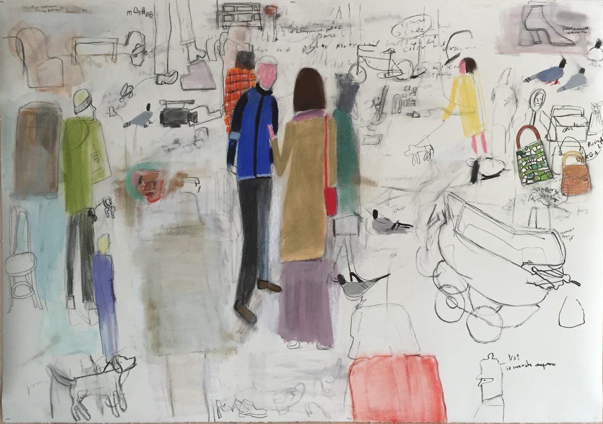 "BROCANTE CONVERSATION, Mixed Media on Paper, 42 x 60"" framed 48 1/2 x 66 1/2"""