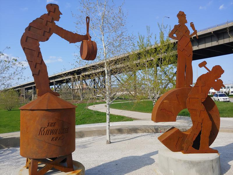 "The first two ""People of the Road"" sculptures in the Menomonee Valley.    CHUCK QUIRMBACH"