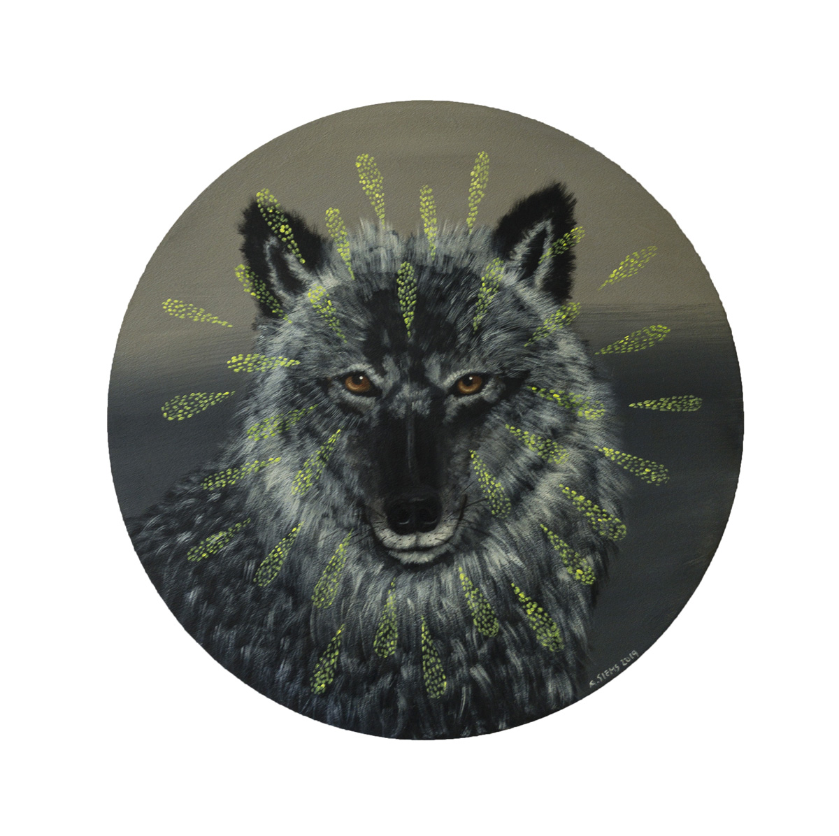 "WISE WOLF, Acrylic on Panel, 18"" diameter"