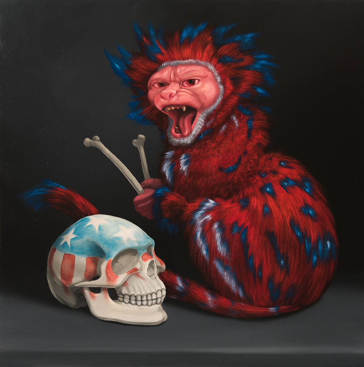 """AMERICAN TRILOGY #3 A JINGO MONKEY BEATING THE SKULL OF A PATRIOT, Oil on Panel, 18 x 18"""""""