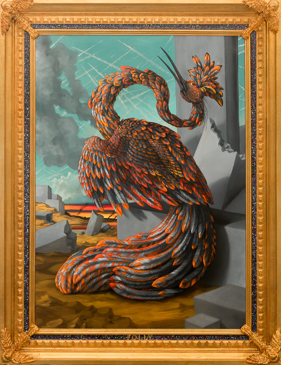 "ALLEGORY OF FUTURE SEASONS: FOLLY (BLACK), Oil on Linen Canvas, 35 x 25"""
