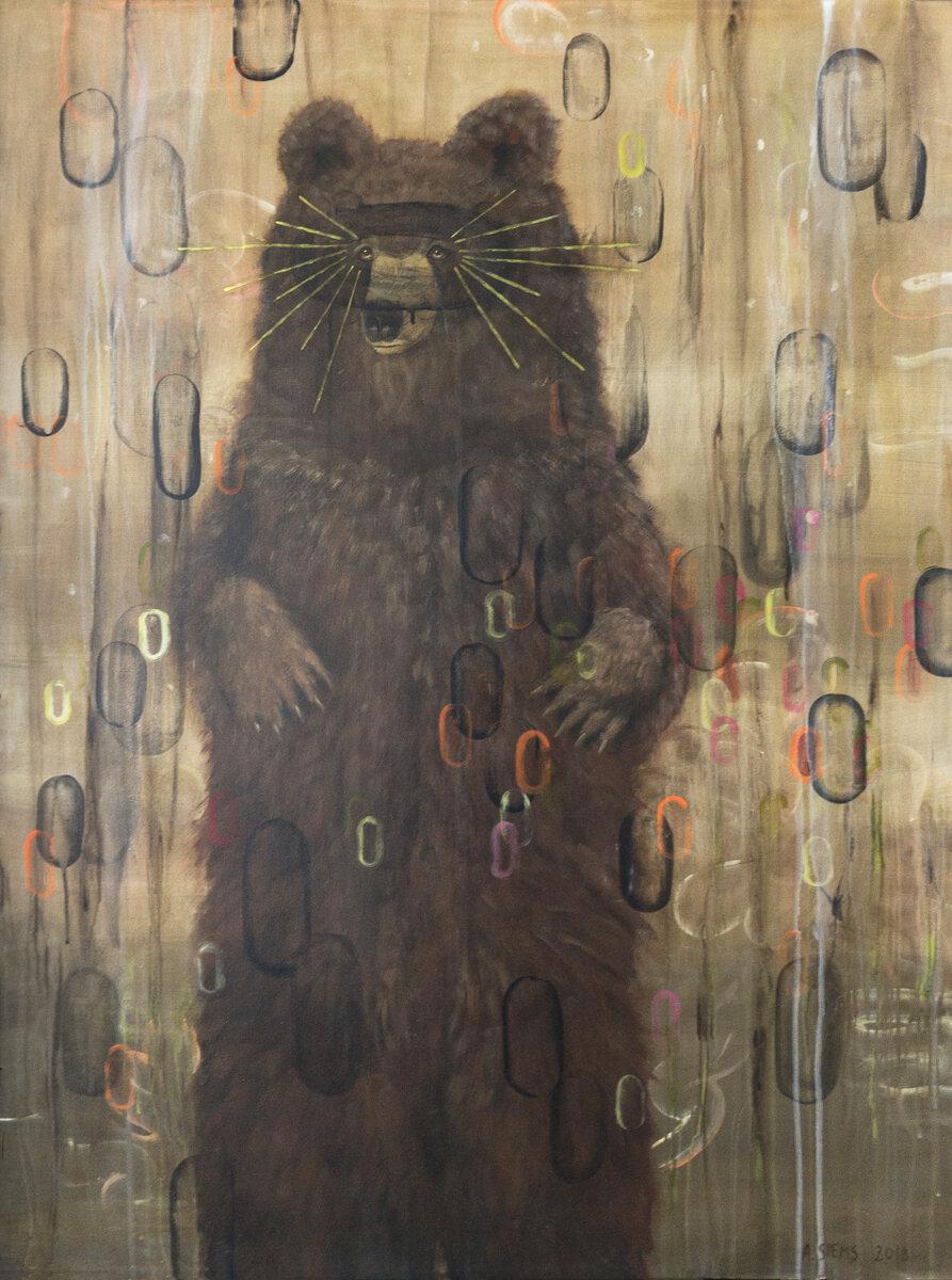 "SEER (BEAR), Acrylic on Panel, 50 x 30"""