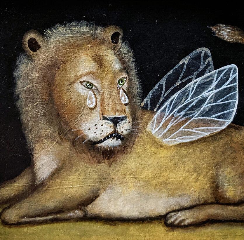 "LION, Acrylic on Paper, 4 1/2 x 6 1/2"""