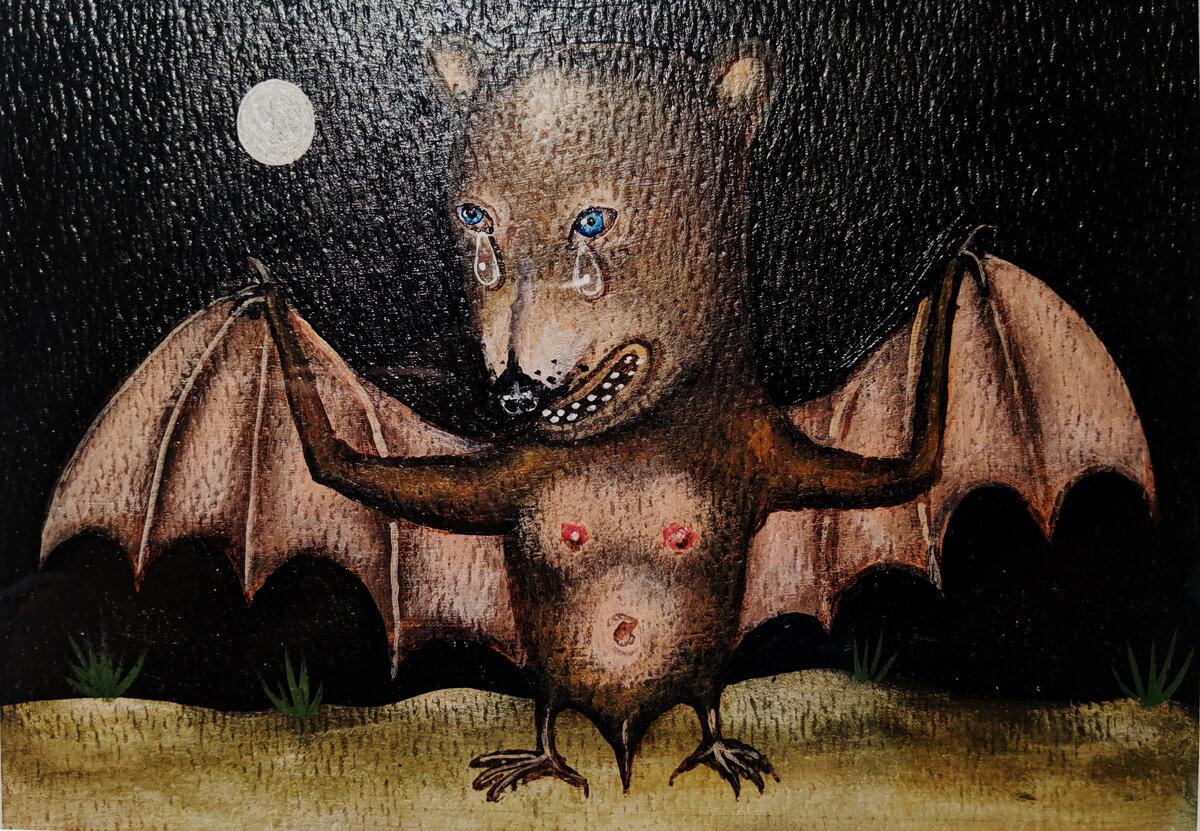 "UNTITLED (BAT), Acrylic on Paper, 4 1/2 x 6 1/2"""