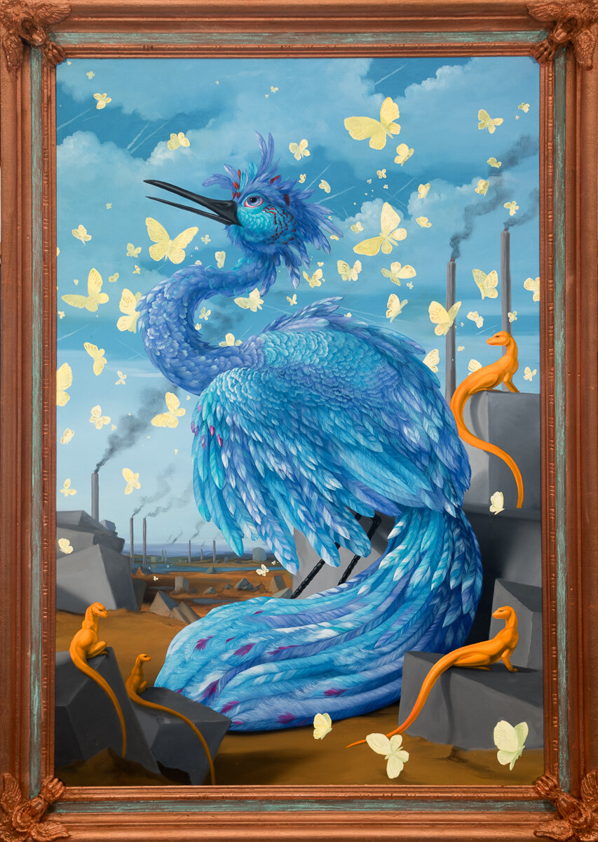 """BLUEBIRD WITH GIANT SULPHURS (FROM THE ILLUSTRATED GUIDE TO NEW AND EMERGING SPECIES), Oil on Linen Canvas with Artist Made Frame, 41 x 29"""""""