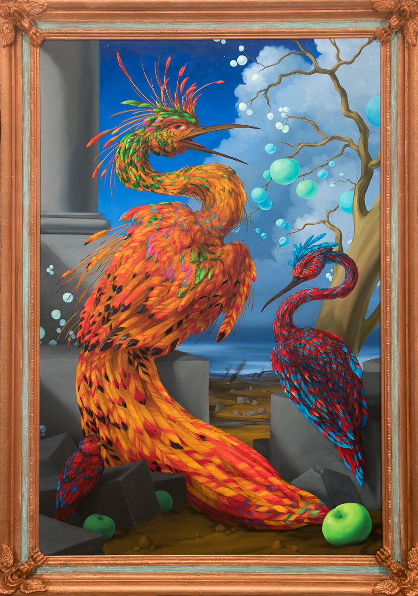 """FIREBIRD WITH POISON FRUITS AND SCAVENGING COMPANION SPECIES (FROM THE ILLUSTRATED GUIDE TO NEW AND EMERGING SPECIES), Oil on Linen Canvas with Artist Made Frame, 41 x 29"""""""
