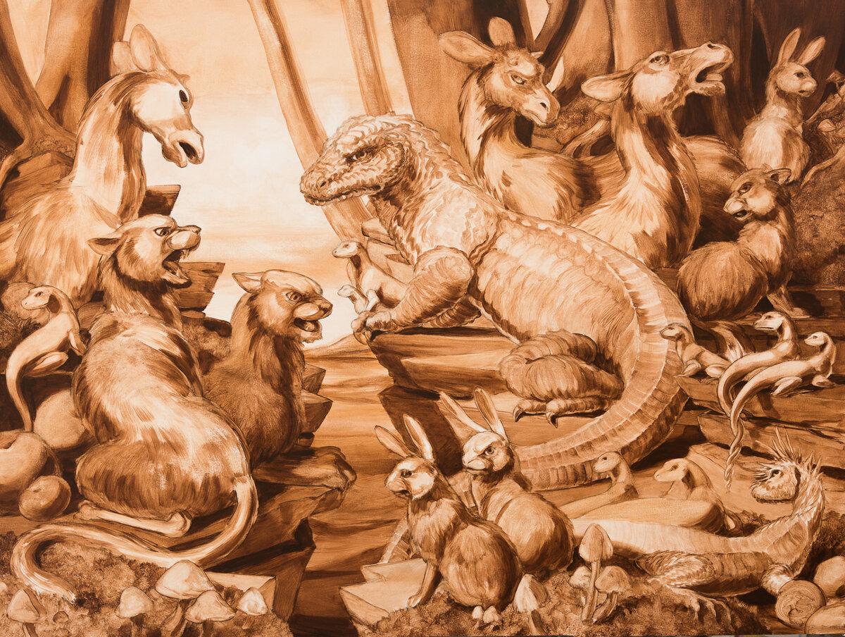 "SEPIA HABITAT DIORAMA #1, Acrylic Wash on Canvas, 36 x 48"""