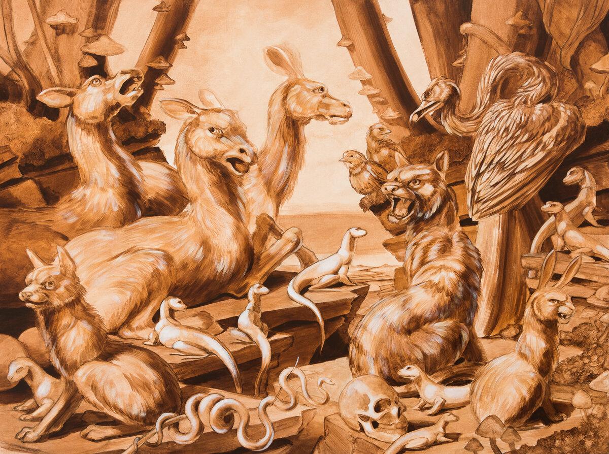 "SEPIA HABITAT DIORAMA #2, Acrylic Wash on Canvas, 36 x 48"""