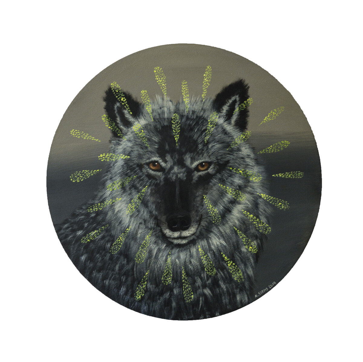 "WISE WOLF, Acrylic on Panel, 18"" diameter"