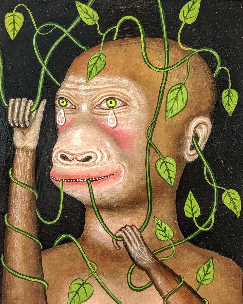 "MONKEY MAN, Acrylic on Panel, 10 x 8"""