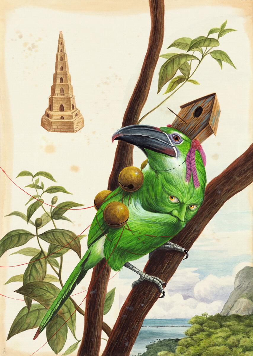"HIDING, Watercolor and Gouache on Cotton Paper, 27 1/2 x 19 1/2"""