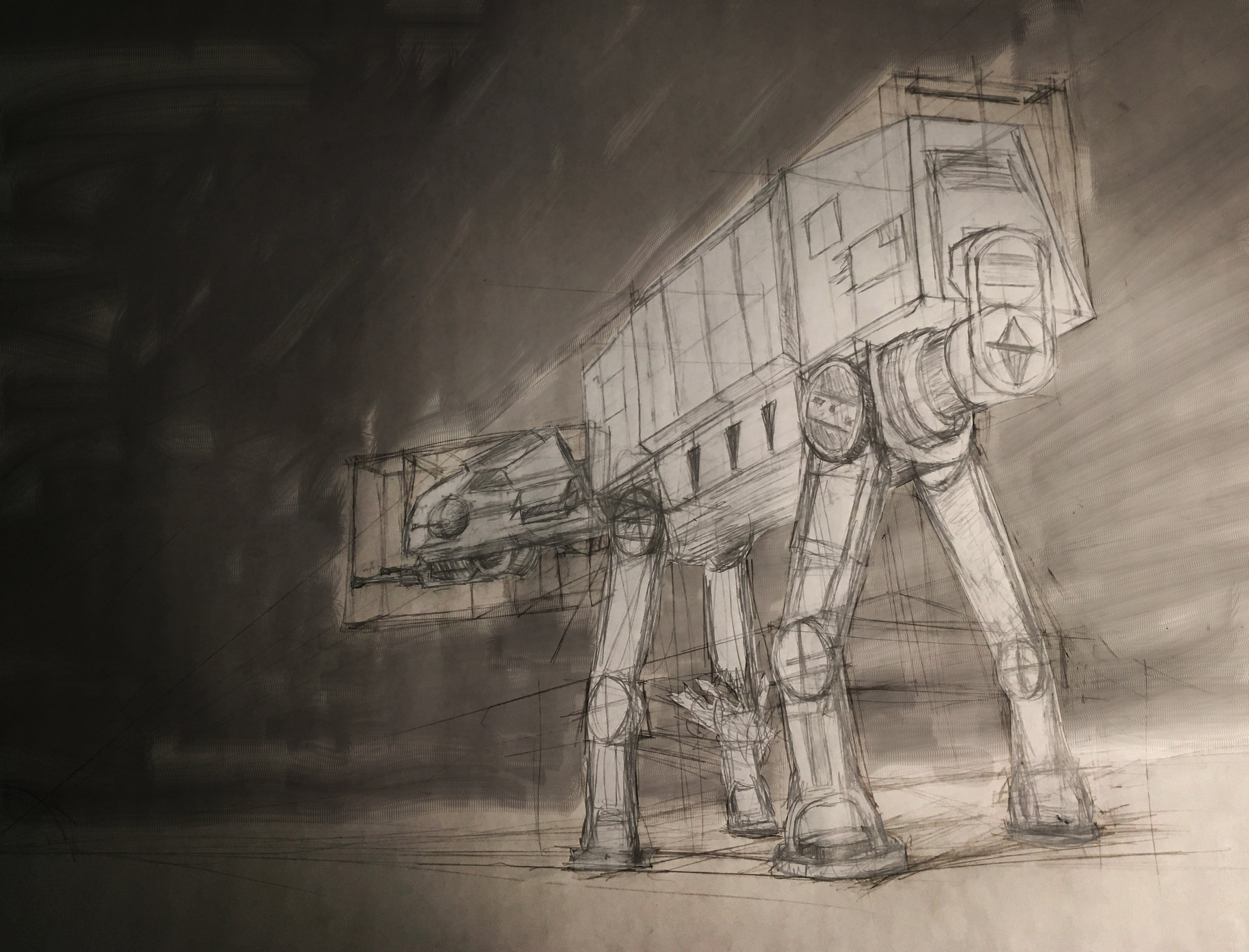 AT-AT  (Pencil on Paper, Photoshop)