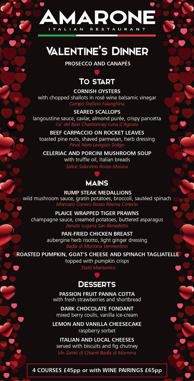 Amarone Valentine's Menu 2017