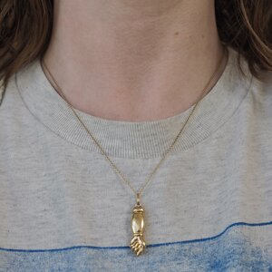 Sale Mano Figa Pendant Vintage 1970s Symbolic Figural Hand 70s Jewelry Retro Silver Tone Genuine Brown Agate Good Luck Charm Necklace