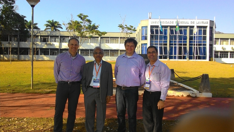 James Gerber, Mannaya, Sivakumar, Paul West, and Luiz Gonsaga de Carvalho at the Federal University of Lavras, Brazil